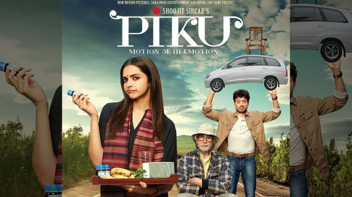 Watch Piku first look posters Deepika Padukone Big B and Irrfan